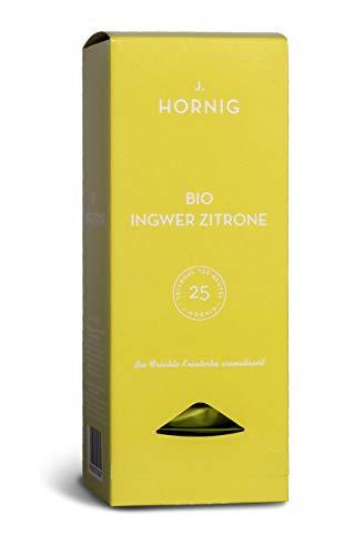 J. Hornig Bio Ingwertee mit Zitrone, Tee im biologisch abbaubaren Pyramidenbeutel, 25 Tee-Sachets, Früchtetee mit Ingwer und Zitrone