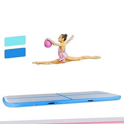 HIRAM Tappetino da Ginnastica Gonfiabile in PVC Air Track Pista Tumbling Materassino Aria Fitness per Yoga Taekwondo Spessore 20cm (Blu e Bianco, 400 x 100 x 20cm)