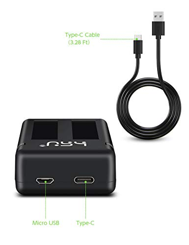 HSU Rechargeable Battery and 3-Channel Charger - for Gopro Hero 2018, Hero 5 Black and Hero 6 with Wall Charger