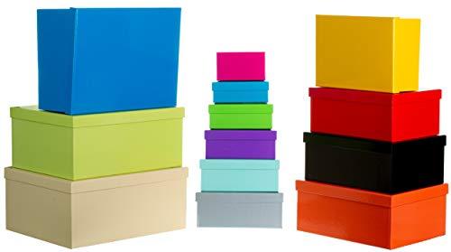 Brandsseller Geschenkbox Aufbewahrungsbox Kartenkarton mit Deckel - Stabiler Karton - 13er Set in absteigender Größe - Willkürlich Bunt Gemixt
