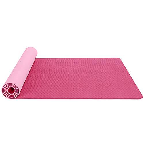 QEGY Yogamatte rutschfest Schadstofffrei, Preumium Yogamatte aus hochwertigen TPE, Übungsmatte Sportmatte für Yoga, Pilates, Fitness 183 x 61 x 0,6cm,E