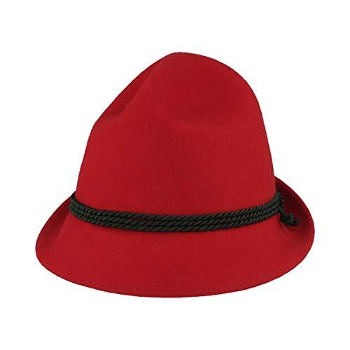 Kinder Trachtenhut | Spitzkopf | Wiesn-Hut für Kleinkinder aus 100% Wolle – Made IN Austria – 3-Fach Seidenkordel für Mädchen & Junge - Rot