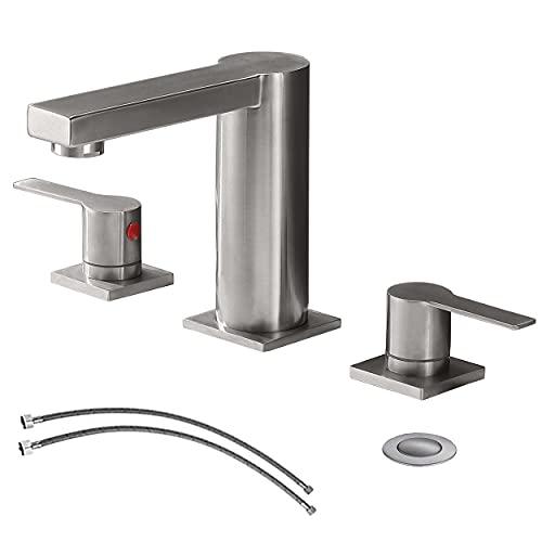 Ufaucet Modern Commercial 2 Handle 3 Holes Widespread Stainless Steel Brushed Nickel Bathroom...