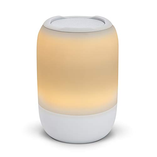 iHome Zenergy Portable Rechargeable Bluetooth Color Changing Speaker with Sound Therapy, Bedside Sleep Therapy Speaker with Wake-up Light 4 Color Modes, 15 Soothing Sounds, Calming Meditation (White)
