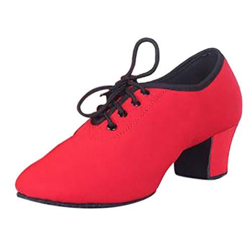 Damen Standard Tanzschuhe Schnürung Jazzschuhe Wildleder Mittelhohe Weiche Sohle, Latein Salsa Tango Dance Schuhe Sneaker Dancesneaker Trainingsschuh