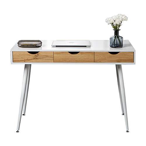 DlandHome Computertisch Moderne Schreibtische mit 3 Schubladen 110L * 50W * 75H cm Konsolentisch Arbeitstisch Bürotisch PC Laptop Studie Tisch für den Eingang, Wohnzimmer Wohnzimmer