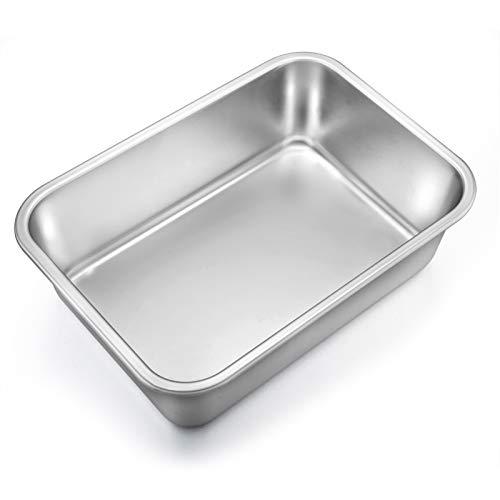 TeamFar Lasagna Pan, Rectangular Cake Pan Brownie Bake Dish Stainless Steel, 12.75''×10''×3.2', Heavy Duty & Healthy, Deep Side & Brushed Surface, Easy Clean & Dishwasher safe