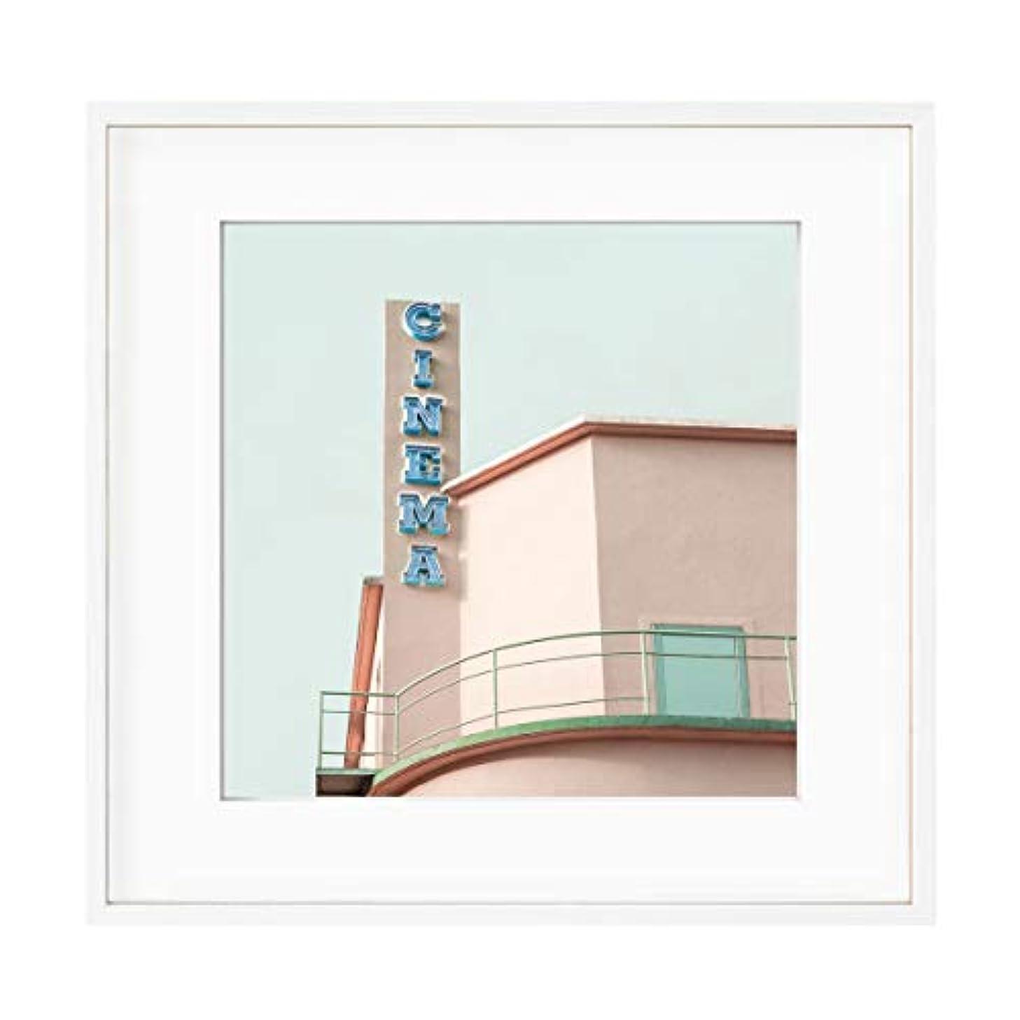 Vintage Cinema Frame Solid Oak Natural with Mount, Multicolored, 50x50