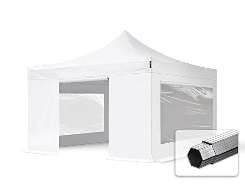 TOOLPORT Faltzelt Professional 4x4 m - mit 4 Seitenteilen (Panoramafenster) Faltpavillon ALU Pavillon Partyzelt weiß