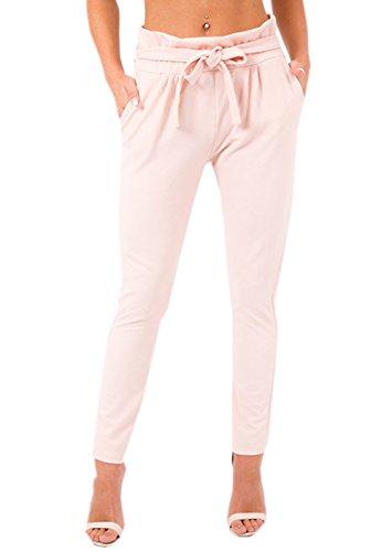 YUPOLB Damen Elegant High Waist Chiffon Stretch Pants Skinny Hosen Casual Streetwear einfarbig Lange Hose mit Tunnelzug, Rosa, Gr. 34