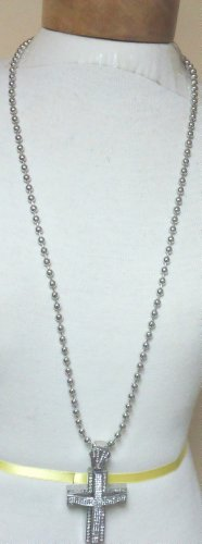 Ti1.3, Genuine Silver Plated Long Chain Charm Necklace