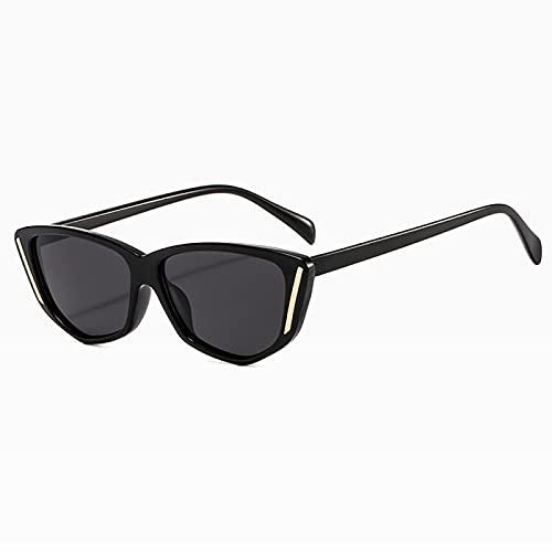 Gafas de Sol Sunglasses Diseño Vintage Cat Eye Gafas De Sol Mujeres Leopard Frame Fashion Gafas De Sol Sombras para Mujeres Hombres Black Shades C01Brightblackgrey