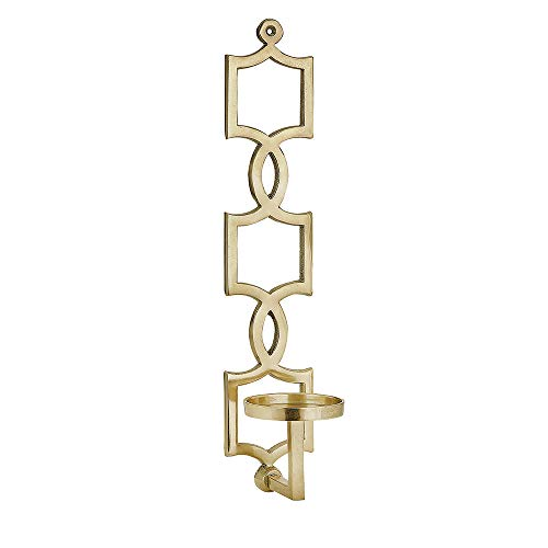 IMAX 60302 Sadie Gold Wall Sconce - Aluminum Wall Mounted Candle Pillar with Jewelry Pattern, Gold Finish. Decorative Candle Holders