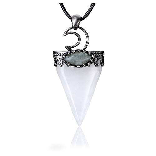 Jovivi Natural Clear Quartz Crystal Pendulum Necklace Moon Labradorite Healing Chakra Triangle Pendulum Adjustable Black Wax Rope Necklace 30'