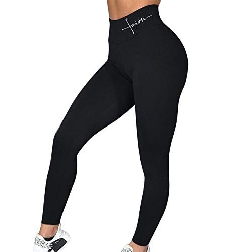 dihui Patchwork Moda Pantalones de Yoga,Push Up Leggins Deporte Mujer Fitness Correr Yoga Pantalones Energy Elastic Tights Tights-Black_L