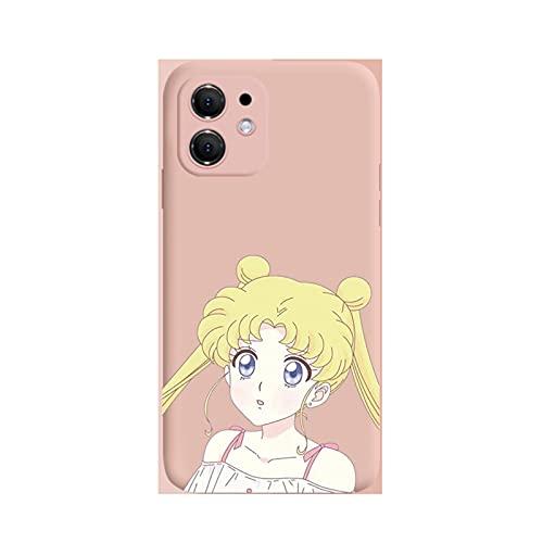 ZMMZ Sailor Moon Anime Series - Funda para iPhone 6 7 8P XR, gel de sílice líquido para mujer, antihuellas, protección de cuerpo completo, color rosa D - 6