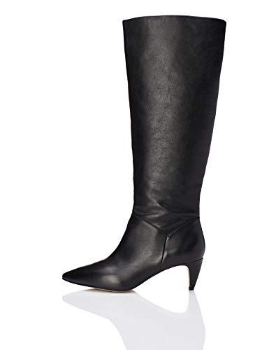 find. Leather Botas Slouch, Negro Black, 39 EU