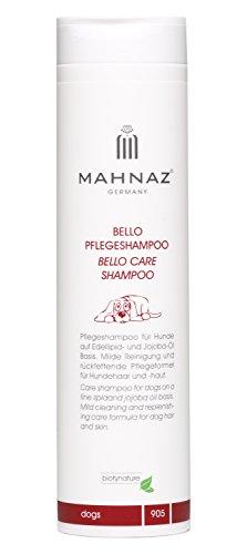 MAHNAZ Bello Hundeshampoo Kokos-Öl und Jojobaöl, rückfettendes Pflegeshampoo, vegan, sehr ergiebig, 200 ml