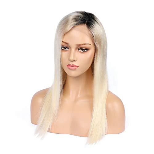 LUZIWEN Europe striée perruque gradient noir et blanc naturel multicolore réaliste longue perruque cheveux raides argent blanc cheveux (Color : 10 inc