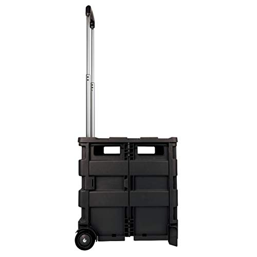 Office Depot Mobile Folding Cart With Lid, 16in.H x 18in.W x 15in.D, Black, 50801 Photo #2