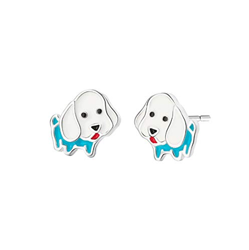 Pendiente de dibujos animados de moda Hippie Drip Oil Animal Dog Stud Earrings Tiny Earring for Women Girl Ear Jewelry