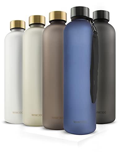 MAMEIDO Botella de 1l, antigoteo, apta para bebidas con gas, sin BPA, botella deportiva de Tritan, sin BPA, botella de agua para deporte, exterior, gimnasio u oficina, color azul zafiro
