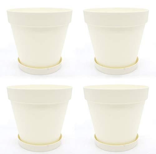 DARO DEKO Kunststoff Blumentopf 5L Creme-weiß 4 Stück