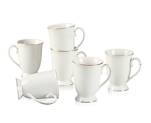Neue Bone China Weiß Cappuccino Kaffeetasse Fine Porzellan Klassisch 10oz Kaffeebecher Tee Geschirr mit Fein Henkel und Golden Rand Dekor fürAlle Getränke