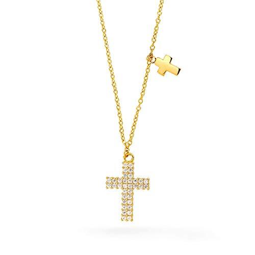 Echt goud dames kruis zirkonia kruis met ketting sieradenset hanger geelgoud gouden hanger 2315
