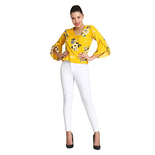 POISON IVY Women's Western Floral Skater Sleeve Fit Casual Top (Yellow, Medium)