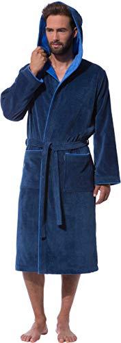 Morgenstern Bademantel für Herren aus Baumwolle mit Kapuze in Blau Bade Mantel knöchellang Herren Bademantel Velours Grösse L