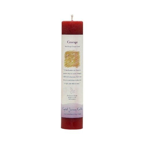 Treasures Stones Crystals & More Crystal Journey Reiki Charged Herbal Magic Pillar Candle - COURAGE - Made with Aromatherapy Essential Oils - Grapefruit, Pine, and Rosemary Scented