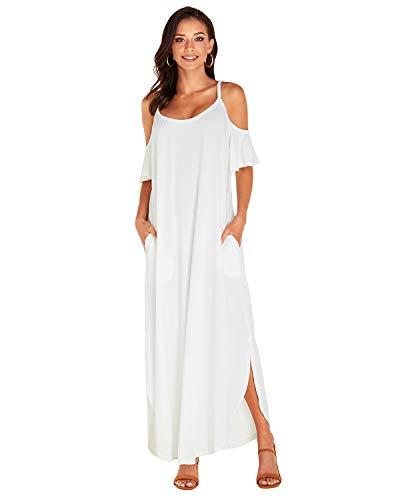 CNFIO Vestidos Mujer Largo Verano Sin Tirantes Vestidos Verano Tallas Grandes Traje de Fiesta Sexy A-Blanco XXL