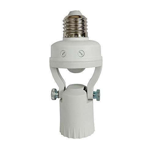 Taigeguang PIR Motion Sensor Light Socket,Adjustable Lamp Head Angle E26E27 Smart Bulb Adapter,Auto OnOff Night Light Control for Garage,Laundry Room,Basement