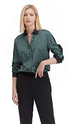 LilySilk Silk Floral Shirts for Women Blouse Basic Ladies Casual Soft Pure Silk Chic Contrast Color Tops Square-Pattern XL