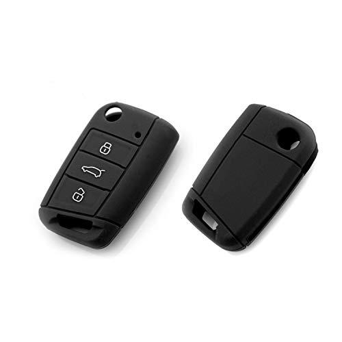LFOTPP Silicagel Schlüsselhülle für T-ROC Golf Tiguan Skoda Seat 3 Tasten Auto Schlüssel (Schwarz)