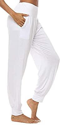 AvaCostume Women's Loose Yoga Harem Workout Pants with Pockets White S