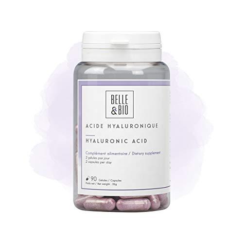 Belle&Bio Acide Hyaluronique & Collagène Marin, 105 mg/jour, Apport en Vitamines A et C, Anti-âge, Peau Ferme Et Tonique, Fabriqué en France, 90 Gélules