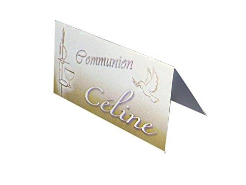 lot de 10 MARQUES PLACES CARTONNES COMMUNION OR personnalisée avec votre texte pour communion couleur or et blanc - ballotin à dragées design et moderne