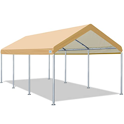 ADVANCE OUTDOOR Adjustable 10x20 ft Heavy Duty Carport Car Canopy Garage Boat Shelter Party Tent, Adjustable Height from 9.0ft to 10.5ft, Beige