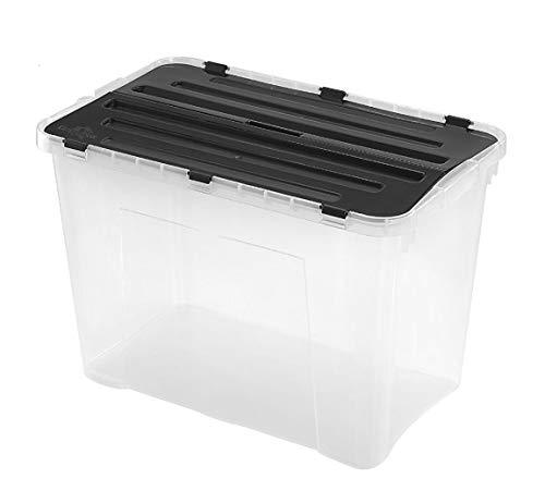 Heidrun 6 Stück Dragon Box 60 Liter - mit geteiltem Deckel - 60 x 40 x 36cm - transparent/schwarz