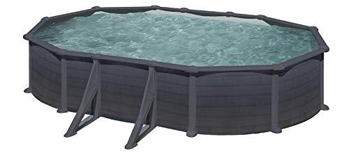 Gre Pools Piscine Ovale Acier 6,34m x 3,99m x H: 1,32m - Gris Anthracite - Filtration à Sable - Renforts apparents