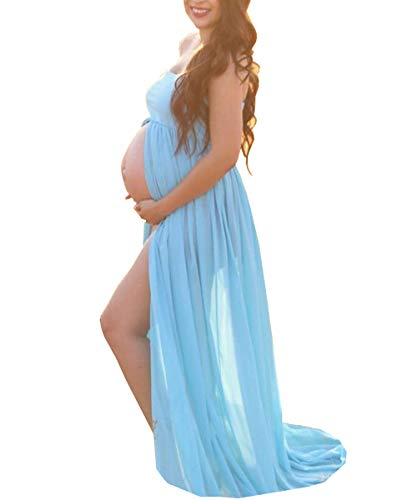 Blue Maternity Off Shoulder Tube Chiffon Gown Split Front Strapless Maxi Pregnancy Photography Dress for Photo Shoot and Baby Shower,A-light Blue,One Size