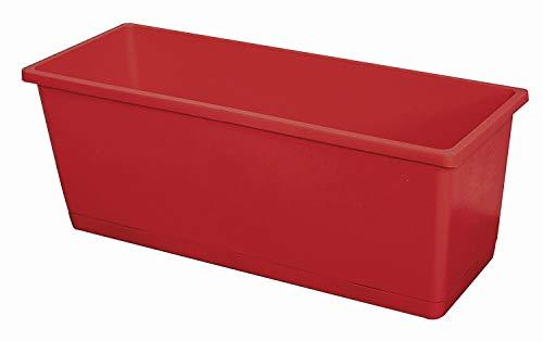 Jardinere OLIVERA 25cm Pflanzkasten mit Untersetzer aus Kunststoff, Farbe:rot