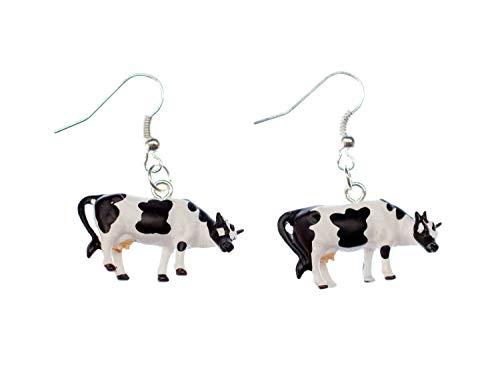 Miniblings Kuh Ohrringe Kühe Milchkuh Fleckvieh Farm Bauernhof Milch Kunststoff - Handmade Modeschmuck I Ohrhänger Ohrschmuck versilbert