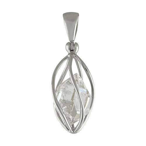 Starborn Sterling Silver cage set medium Herkimer Diamond Quartz Crystal Pendant