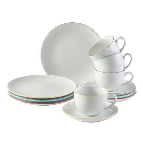 vivo Villeroy & Boch Group 19-5246-9014 Fresh Color Kaffee Set 12 teilig Geschirrsets, Porzellan, weiß, 21.5 x 20 x 20.5 cm, 12 Einheiten
