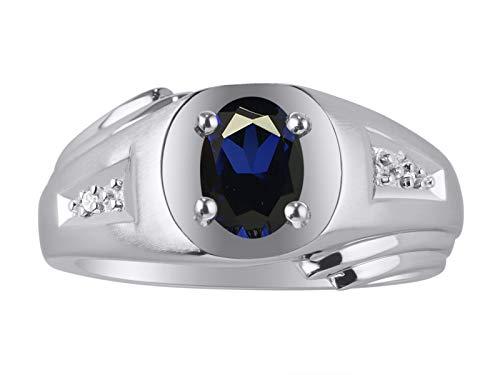 Anillo de plata de ley 925 con zafiro ovalado y diamante para hombre
