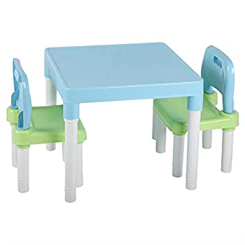 AYNEFY Children Kids Plastic Table and Chairs Sets Safe and Scratch Free Table Chairs Sets Kids Eco-Friendly Plastic Table Chair Set Learning Studying Desk for Home Kindergarten Blue Green