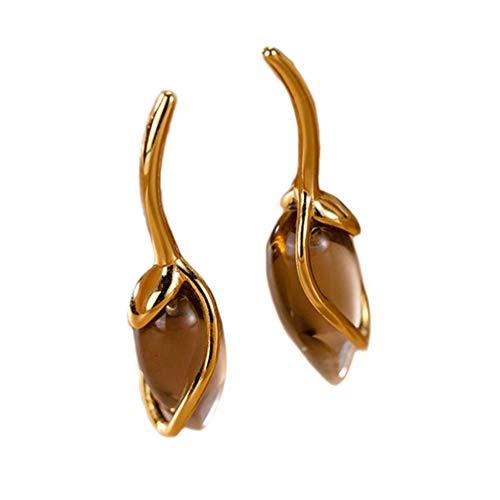 Helen de Lete S925 Sterling Silber Champagner Farbe Tulpe Blütenknospe Ohrring